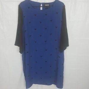 Carmakoma Blue w/ Black Heart Shift Dress